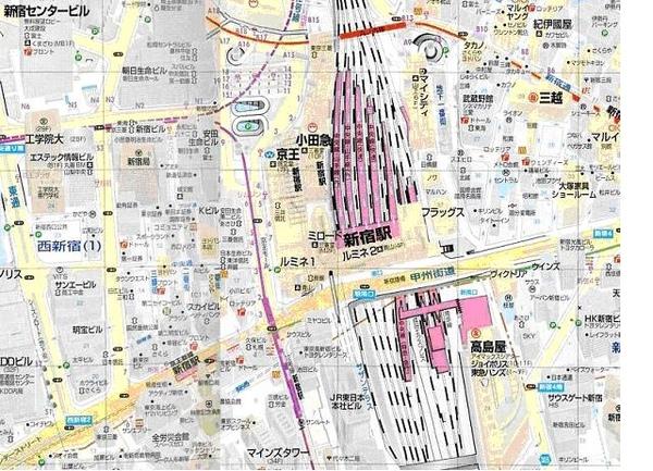 新宿車站附近地圖