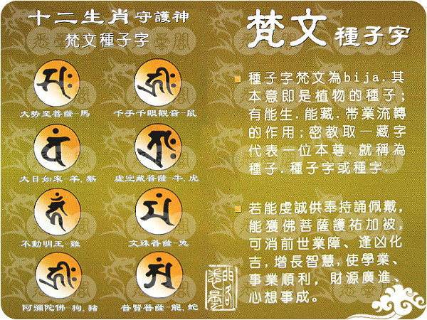 十二生肖守護神種子咒字
