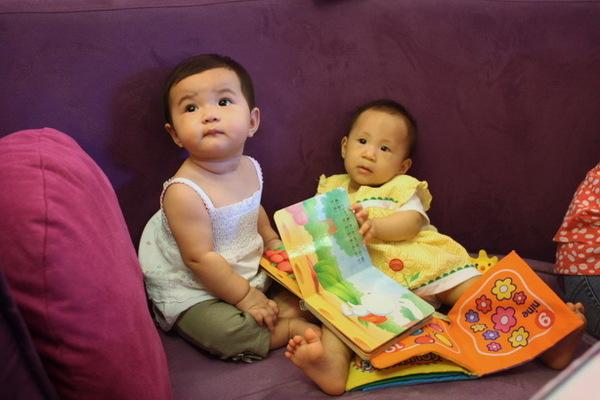 晴晴和樂樂在看書