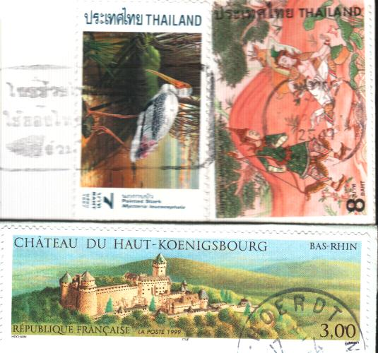 A rectangle French stamp and two Thai stamps [長方形的法國郵票及兩張泰國郵票]