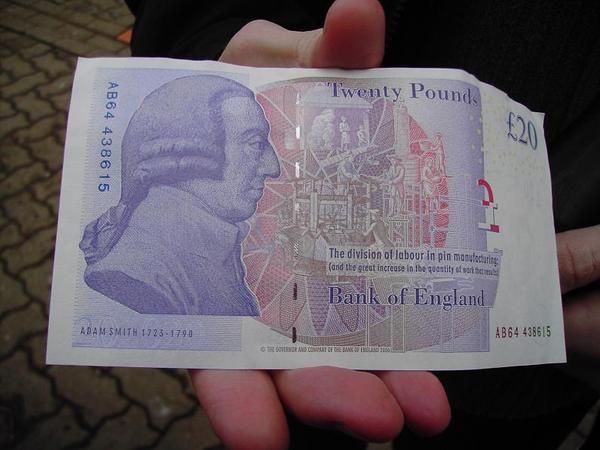 A new 20-pound note (back)... and Jonathan's hand!:P