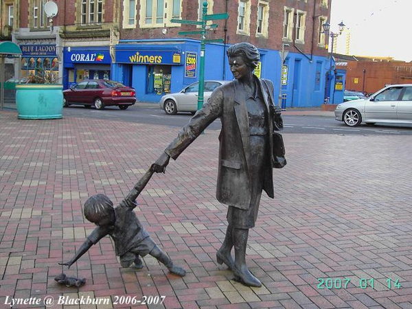Interesting statue in front of Morrisons @ Blackburn, the United Kingdom
