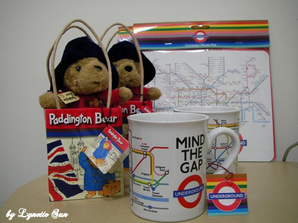 Paddington bear, mugs with a tube map, mouse pads