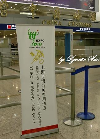 Expo 2010 [在機場看到2010年上海世博會旗幟]