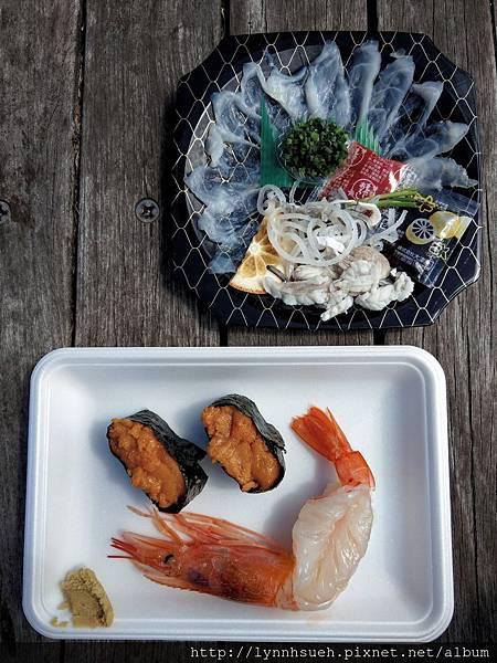 甜蝦,海膽壽司及河豚刺身-唐戶市場
