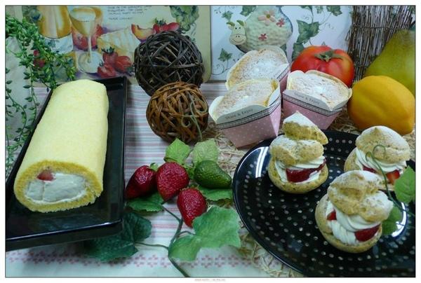 董文斌師傅--草莓奶凍蛋糕,北海道牛奶戚風,亞麻子泡芙