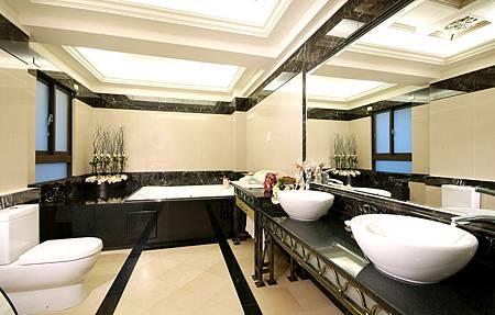 衛浴配備進口V&B建材,搭配懸壁馬桶,按摩浴缸等高等建材~