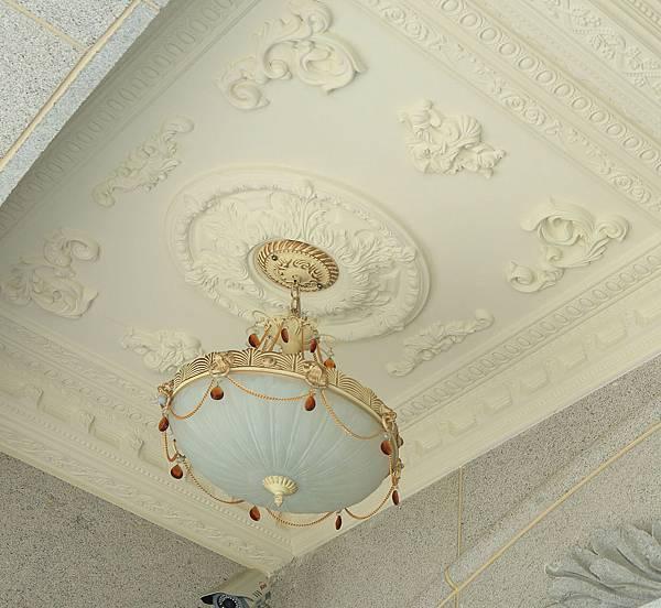 古典,天花板,吊燈