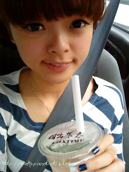 Chatime in the car .jpg