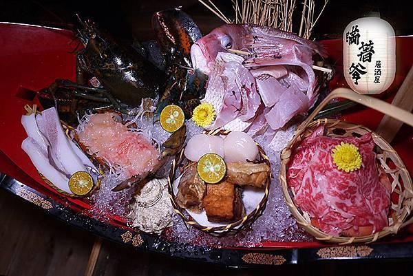 台北松山【瞞著爹-台北八德金柚店】人氣日式居酒屋。豪華極上海鮮全肉拼盤。八德路日式料理