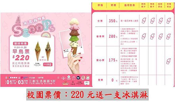 SCOOPS!冰淇淋特展-展覽優惠門票220元