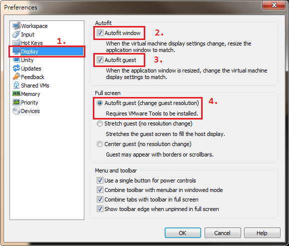 VMware Display Setting