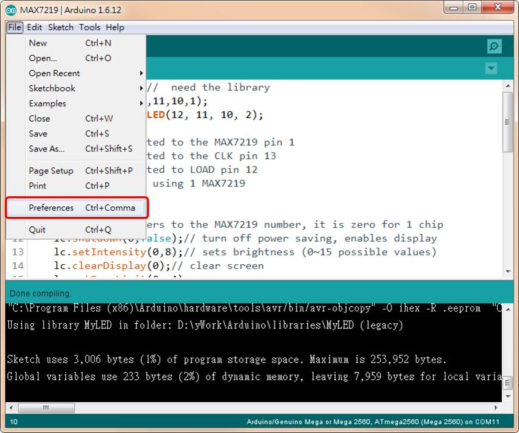 Arduino Open Pref.