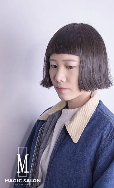 個性感捲髮 灰墨綠髪色 台北東區染髮