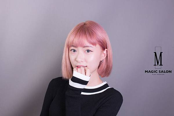 梅果紅 粉紅色染髮 空氣瀏海 韓風