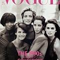 VOGUE UK 1990/1 - Naomi、Linda、Christy、Cindy、Tatjana