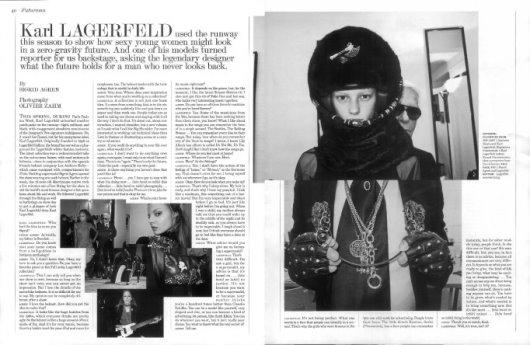 Interview Magazine - Sigrid interviwed Karl Lagerfeld