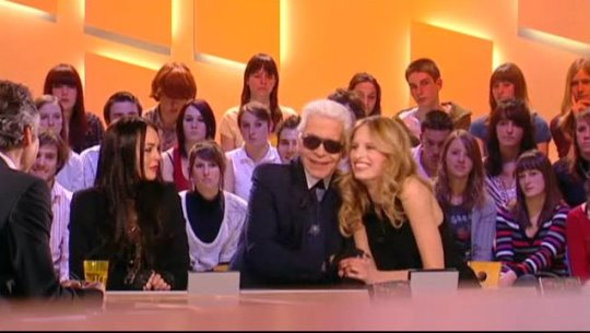 Le Grand Journal - Karl Lagerfield, Karolina Kurkova and Lindsay Lohan