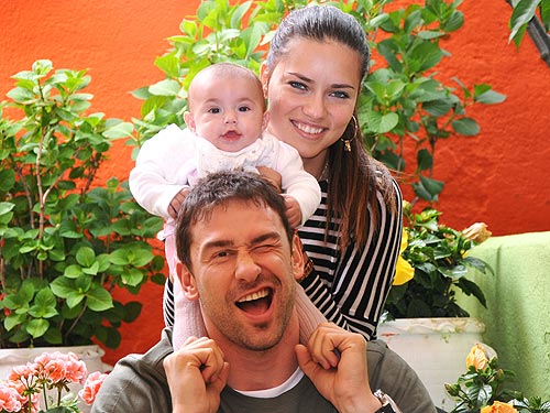 Adriana Lima,her daughter Valentina and husband Marko Jaric
