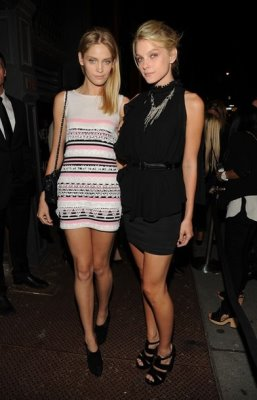 Heidi Mount & Jessica Stam at the re-opening party for the Chanel Soho store