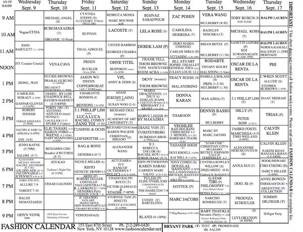 NYFW S/S 2010 Schedule