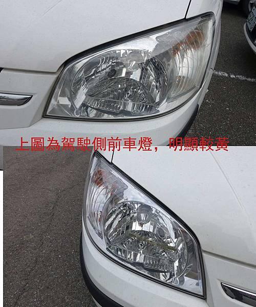 兩車燈比較圖