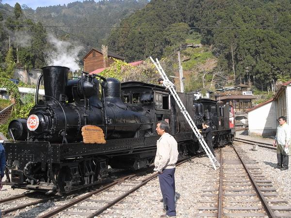 奮起湖的小火車在為了聖誕節的通車彩排
