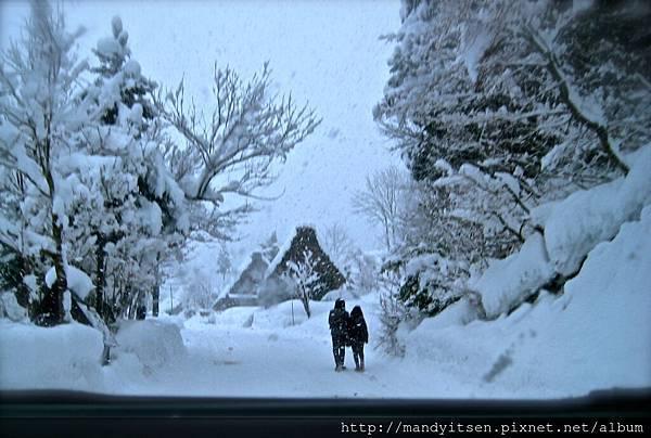 在雪中攜手前進