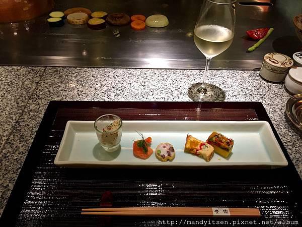 鐵板燒「豐園」前菜與白酒