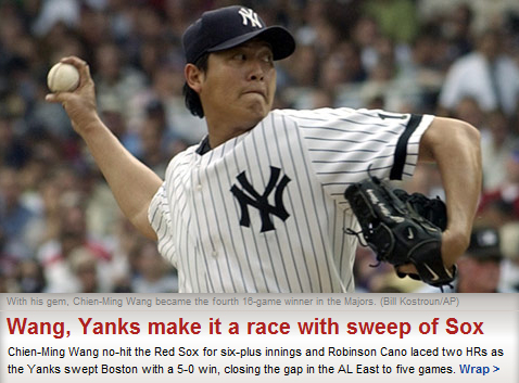 Wang's win helped Yankees to Sweep Red Sox.