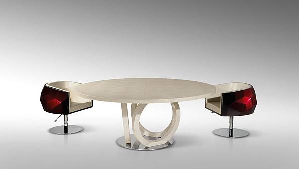 FF GALILEO ROUND LEATHER TABLE WITH CRYSTAL CHAIRS TAV T66P.jpg