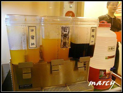 水蜜桃、百香果、烏梅汁、白開水
