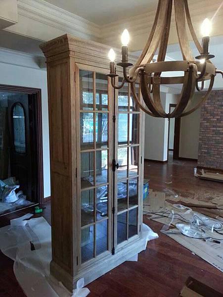 橡木窗格兩門玻璃書櫃