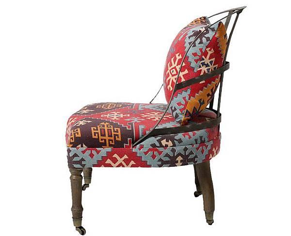 英式帶輪鐵背椅2