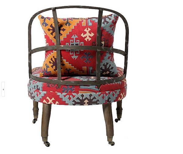 英式帶輪鐵背椅3