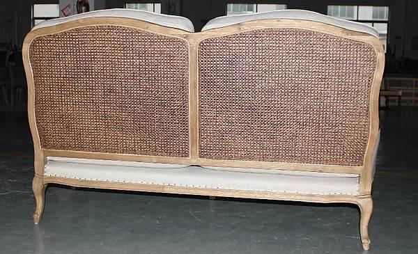 法式雙人籐編椅背沙發3
