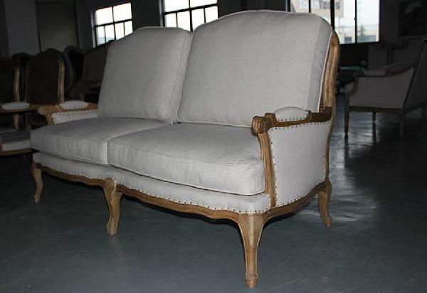 法式雙人籐編椅背沙發2