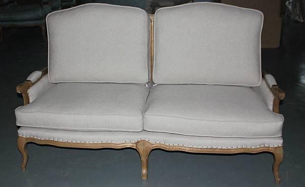 法式雙人籐編椅背沙發