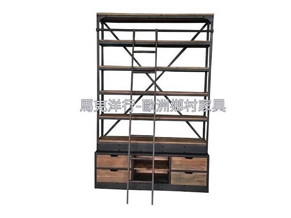 LOFT鐵做舊經典帶梯書架