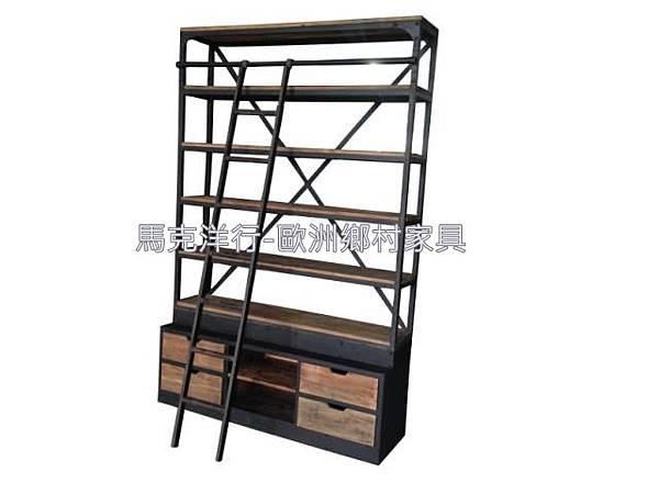 LOFT鐵做舊經典帶梯書架2