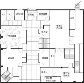 2004台中市保母資源中心婦幼館2樓配置圖。