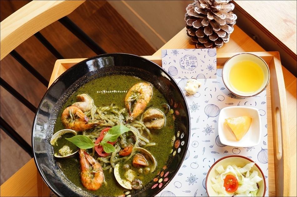 38鯷魚青醬鮮蝦蛤蜊麵附小菜茶飲