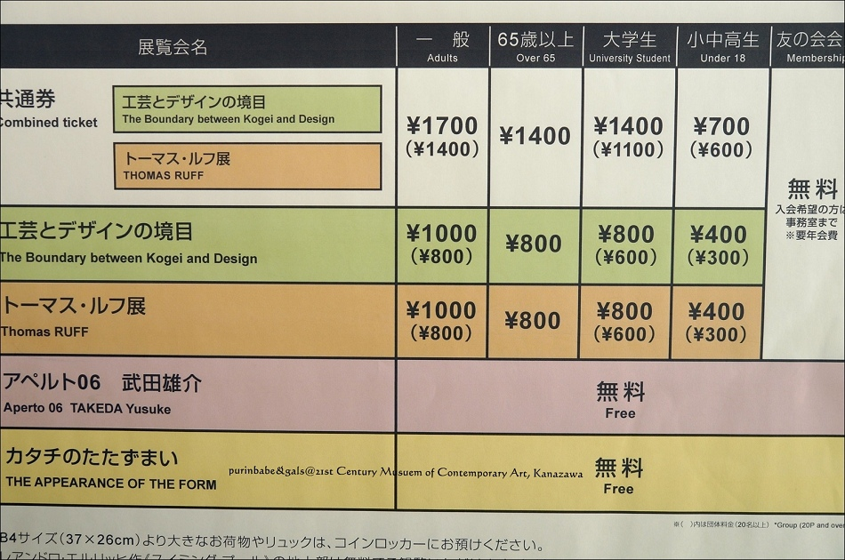 20二十一世紀美術館入場券價格