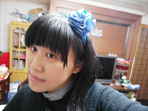 寶藍花朵髮帶