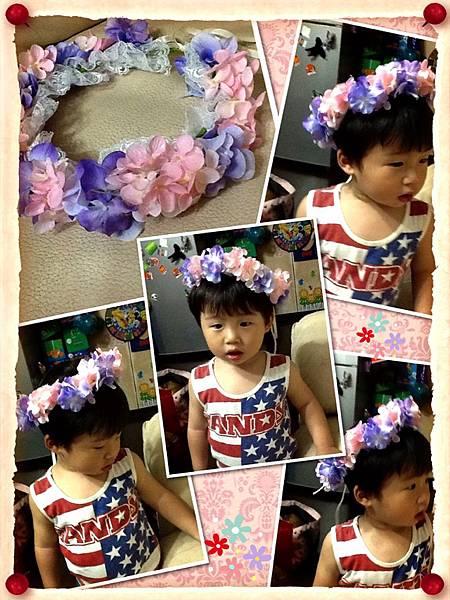 粉紫繡球花圈