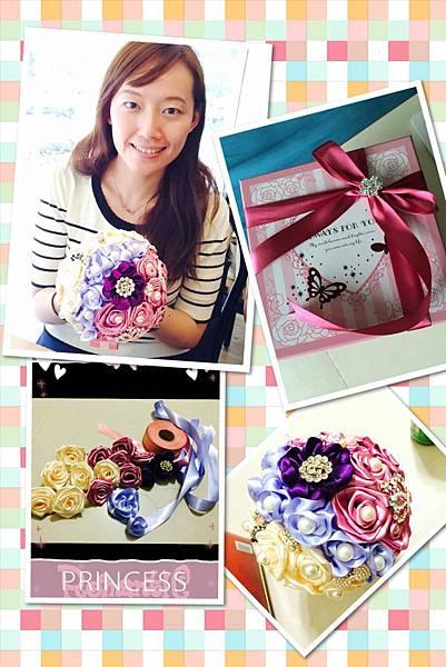 粉紫風緞帶珠寶捧花