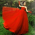 ab0014020紅色韓式韓版抹胸新娘結婚敬酒公主婚紗禮服2012新款6051-3