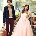 ab0022970嫩粉色新娘結婚敬酒婚紗禮服 秋冬抹胸晚禮服長款2765-2