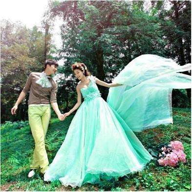 ab0035970性感單肩 韓式新娘藍綠色結婚敬酒晚禮服 2012新款 8028-2