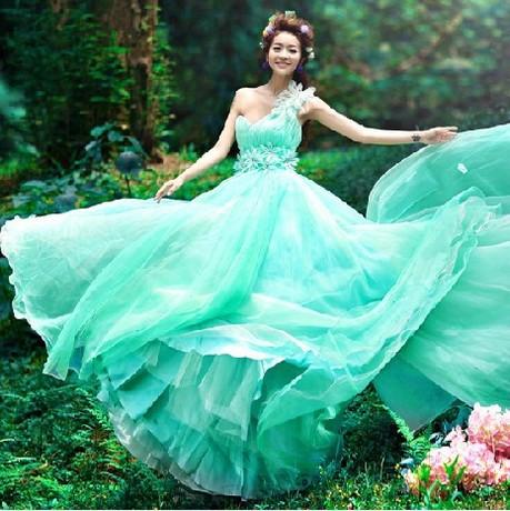 ab0035970性感單肩 韓式新娘藍綠色結婚敬酒晚禮服 2012新款 8028-1